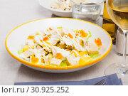 Купить «Salad with chicken and pineapple», фото № 30925252, снято 26 июня 2019 г. (c) Яков Филимонов / Фотобанк Лори