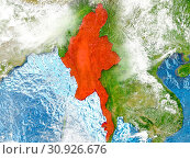 Купить «Myanmar in red on map with detailed landmass texture, realistic watery oceans and clouds above the surface. 3D illustration. Elements of this image furnished by NASA.», фото № 30926676, снято 8 июля 2020 г. (c) easy Fotostock / Фотобанк Лори