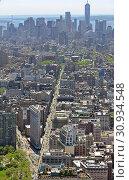 Купить «Flatiron District, neighborhood in New York City borough of Manhattan, named after Flatiron Building at 23rd Street, Broadway and Fifth Avenue», фото № 30934548, снято 11 мая 2019 г. (c) Валерия Попова / Фотобанк Лори