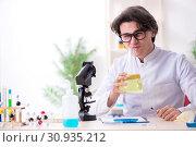 Купить «Young male biochemist working in the lab», фото № 30935212, снято 14 января 2019 г. (c) Elnur / Фотобанк Лори