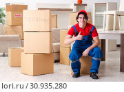 Купить «Young male contractor with boxes working indoors», фото № 30935280, снято 1 февраля 2019 г. (c) Elnur / Фотобанк Лори