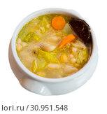 Купить «Bean's catalan soup with carrots and potatoes, served with black sausage», фото № 30951548, снято 25 июня 2019 г. (c) Яков Филимонов / Фотобанк Лори