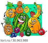 Cartoon Illustration of Cute Fruit Characters Group. Стоковое фото, фотограф Zoonar.com/Igor Zakowski / easy Fotostock / Фотобанк Лори