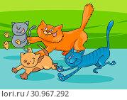 Cartoon Illustration of Funny Running Cats Group. Стоковое фото, фотограф Zoonar.com/Igor Zakowski / easy Fotostock / Фотобанк Лори