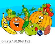 Cartoon Illustration of Funny Fruits and Vegetables Food Characters Group. Стоковое фото, фотограф Zoonar.com/Igor Zakowski / easy Fotostock / Фотобанк Лори