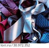 Купить «Set of colorful men's ties, fashion accessory item of clothing», фото № 30972352, снято 7 июня 2020 г. (c) easy Fotostock / Фотобанк Лори