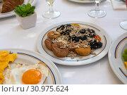 Купить «Figs, prunes and sunflower seeds and others on plate - healthy breakfast concept», фото № 30975624, снято 15 июня 2019 г. (c) Володина Ольга / Фотобанк Лори