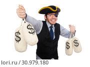 Купить «Businessman pirate isolated on white background», фото № 30979180, снято 16 марта 2015 г. (c) Elnur / Фотобанк Лори