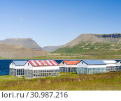 Typical huts for drying fish at the shore of fjord Dyrafjoerdur. The remote Westfjords (Vestfirdir) in north west Iceland. Europe, Scandinavia, Iceland. Стоковое фото, фотограф Martin Zwick / age Fotostock / Фотобанк Лори
