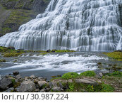 Waterfall Dynjandi, an icon of the Westfjords. The remote Westfjords (Vestfirdir) in north west Iceland. Europe, Scandinavia, Iceland. Стоковое фото, фотограф Martin Zwick / age Fotostock / Фотобанк Лори