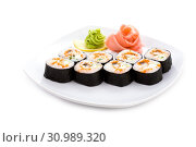 Купить «Image of dragon maki sushi rolls covered in nori with pickled ginger and wasabi», фото № 30989320, снято 23 ноября 2009 г. (c) easy Fotostock / Фотобанк Лори