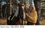 Thoughtful blonde girl puts the harness on her favorite horse preparing for the ride in a wood slow motion. Стоковое видео, видеограф Denis Mishchenko / Фотобанк Лори