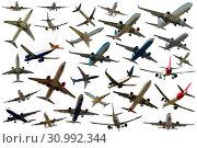 Купить «Collection of aircrafts isolated», фото № 30992344, снято 25 октября 2017 г. (c) Яков Филимонов / Фотобанк Лори