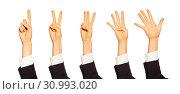 Купить «Female counting hands with number gestures on white», фото № 30993020, снято 17 февраля 2019 г. (c) Сергей Новиков / Фотобанк Лори