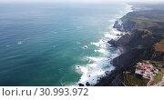 Купить «Cabo da Roca Lighthouse. Portuguese Farol de Cabo da Roca is most westerly European extent», видеоролик № 30993972, снято 21 апреля 2019 г. (c) Яков Филимонов / Фотобанк Лори