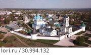 Купить «Aerial view of Vysotsky monastery in Serpukhov city, Russia region», видеоролик № 30994132, снято 1 мая 2019 г. (c) Яков Филимонов / Фотобанк Лори
