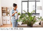 Купить «happy african woman spraying houseplants at home», фото № 30994304, снято 7 апреля 2019 г. (c) Syda Productions / Фотобанк Лори