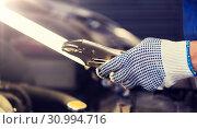 Купить «mechanic man with pliers repairing car at workshop», фото № 30994716, снято 1 июля 2016 г. (c) Syda Productions / Фотобанк Лори