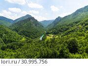 Купить «Mountains and Tara river canyon in Durmitor, Montenegro», фото № 30995756, снято 14 июня 2019 г. (c) Володина Ольга / Фотобанк Лори