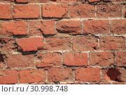 Купить «Old Red Brick Wall, Grunge Background», фото № 30998748, снято 13 августа 2017 г. (c) Иван Карпов / Фотобанк Лори