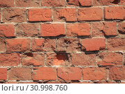 Купить «Old Red Brick Wall, Grunge Background», фото № 30998760, снято 13 августа 2017 г. (c) Иван Карпов / Фотобанк Лори