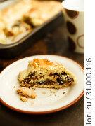 Купить «raisin roll with nuts. A piece of cake on a saucer», фото № 31000116, снято 12 мая 2018 г. (c) Ирина Мойсеева / Фотобанк Лори