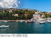 Купить «Herceg Novi, Montenegro - June 10. 2019. Panorama of the city from the sea», фото № 31000532, снято 10 июня 2019 г. (c) Володина Ольга / Фотобанк Лори