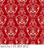 Abstract Vector Seamless Red Hearts Pattern for Background. Стоковая иллюстрация, иллюстратор Бражников Андрей / Фотобанк Лори