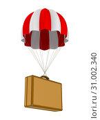 Купить «travel bag and parachute on white background. Isolated 3D illustration», иллюстрация № 31002340 (c) Ильин Сергей / Фотобанк Лори
