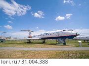 Passenger jet aircraft Tu-134A-3. Orenburg, Russia - May 04, 2019: Orenair airliner at the Civil Aviation Museum at Gagarin Airport. Редакционное фото, фотограф Вадим Орлов / Фотобанк Лори