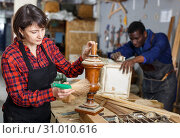 Купить «Restorers working with wooden details», фото № 31010616, снято 2 февраля 2019 г. (c) Яков Филимонов / Фотобанк Лори