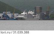 Купить «Cruise Liner Le Soleal sailing on background mountains coastline sea port», видеоролик № 31039388, снято 25 июня 2019 г. (c) А. А. Пирагис / Фотобанк Лори
