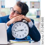 Купить «Businessman with giant clock failing to meet deadlines and missi», фото № 31040660, снято 18 сентября 2017 г. (c) Elnur / Фотобанк Лори