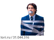 Tied employee with tape on mouth isolated on white. Стоковое фото, фотограф Elnur / Фотобанк Лори