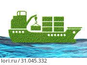 Купить «Green environmentally friendly vehicle concept - 3d rendering», фото № 31045332, снято 18 августа 2019 г. (c) Elnur / Фотобанк Лори
