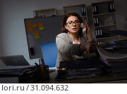 Купить «Female employee suffering from excessive work», фото № 31094632, снято 14 ноября 2018 г. (c) Elnur / Фотобанк Лори