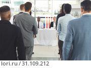 Купить «Group of diverse business people waiting for interview in company», фото № 31109212, снято 21 марта 2019 г. (c) Wavebreak Media / Фотобанк Лори
