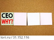 Купить «Conceptual hand writing text caption inspiration showing CEO Business concept for Operating Leader Business Executive President on the colourful Sticky Note close-up background», фото № 31152116, снято 7 октября 2017 г. (c) easy Fotostock / Фотобанк Лори