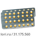 Rabeprazole : Small round light yellow enteric-coated tablet pills in blister pack isolated on white background with copy space. Medicine for treatment gastric ulcer (stomach ulcer) or GERD. Стоковое фото, фотограф YAY Micro / easy Fotostock / Фотобанк Лори