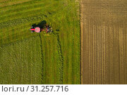 Купить «Top down aerial view of a red tractor cultivating farmland with a spinning blade in rural Slovenia», фото № 31257716, снято 12 октября 2018 г. (c) easy Fotostock / Фотобанк Лори