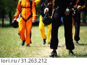 Купить «Parachutists fully equipped on the way to airplane», фото № 31263212, снято 20 июля 2013 г. (c) easy Fotostock / Фотобанк Лори