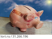 Купить «Piggy bank, good luck pig with lettering Pension on wooden surface in front of blue sky background», фото № 31266196, снято 19 мая 2018 г. (c) easy Fotostock / Фотобанк Лори
