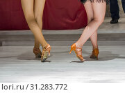 Купить «Female legs of young girls who dance in competition», фото № 31283772, снято 17 марта 2018 г. (c) easy Fotostock / Фотобанк Лори