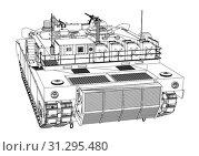 Купить «Blueprint or sketch of realistic tank. 3d illustration», фото № 31295480, снято 28 мая 2020 г. (c) easy Fotostock / Фотобанк Лори