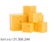 Купить «Heap of cheese cubes isolated on a white background. With clipping path.», фото № 31306244, снято 9 июля 2016 г. (c) easy Fotostock / Фотобанк Лори