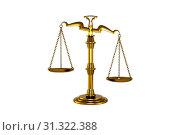 Купить «Gold plated mechanical balance on a white background. measure of weights», фото № 31322388, снято 19 ноября 2019 г. (c) easy Fotostock / Фотобанк Лори
