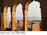 Купить «India, Uttar Pradesh, Mathura, Contemplative monkeys on the banks of the Yamuna.», фото № 31336992, снято 24 февраля 2018 г. (c) age Fotostock / Фотобанк Лори