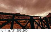 Купить «Timelapse of wooden fence on high terrace at mountain landscape with clouds. Horizontal slider movement», видеоролик № 31393260, снято 18 марта 2018 г. (c) Александр Маркин / Фотобанк Лори