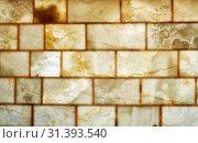 Купить «Onyx brick wall background. Texture of honey color onyx material», фото № 31393540, снято 15 июня 2018 г. (c) Serg Zastavkin / Фотобанк Лори