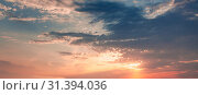 Купить «Colorful cloudy sky panorama at sunset», фото № 31394036, снято 16 июля 2014 г. (c) EugeneSergeev / Фотобанк Лори